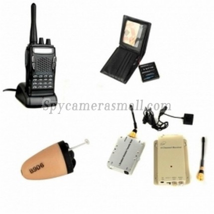 Spy Button Camera DVR - 1.2GHz Wireless Button Camera and 3W Receiver with Walkie Talkie and Spy Ear Piece