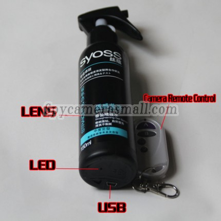 Bathroom Spy 1080P HD Hidden Waterproof Hair Spray Gel pinhole Spy Camera DVR 32GB